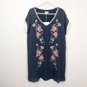 NWT Umgee Shirt Dress Floral Embroidery sz L